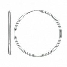 Серебряные родированные серьги-конго Кристалл, Ø3,5см