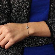 Серебряный родированный браслет Чистейшее сердце с цирконием