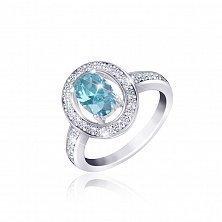 Серебряное кольцо с голубым фианитом Маргарет