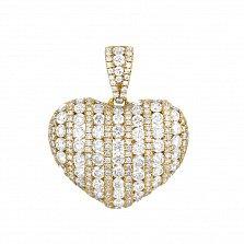 Золотой кулон Воздушное сердце в желтом цвете с бриллиантами