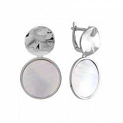 Серебряные серьги-подвески с перламутром 000143931