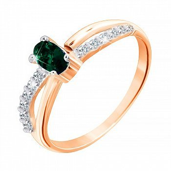 Позолоченное серебряное кольцо с зеленым цирконием 000028210