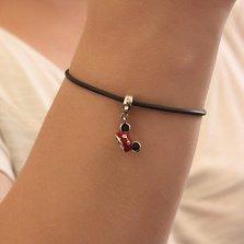 Серебряный родированный шарм Микки Маус с черной и красной эмалью