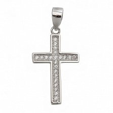 Серебряный крест Символ стиля с цирконием