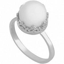 Золотое кольцо в белом цвете с жемчугом Рассвет империи