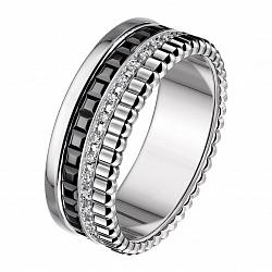 Обручальное кольцо Мелодия в белом золоте с фианитами и черной шпинелью в стиле Бушерон