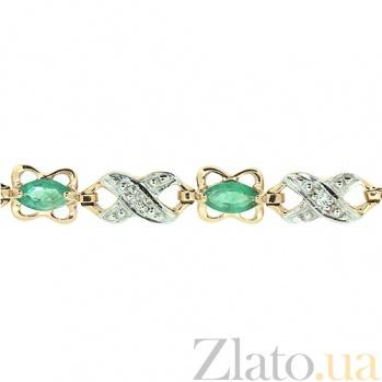 Золотой браслет с бриллиантами и изумрудами Люка ZMX--BCE-1010_K