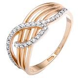 Золотое кольцо Элизия с фианитами