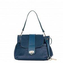 Кожаная сумка на каждый день Genuine Leather 8813 синего цвета на молнии под клапаном