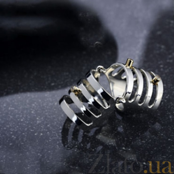 Серебряное бандажное кольцо с золотыми вставками Девон 000030002