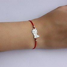 Шелковый браслет с серебряной вставкой Кицюня