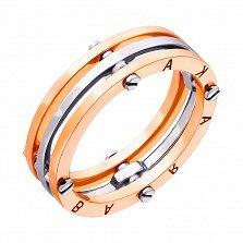 Золотое обручальное кольцо Счастливый союз в комбинированном цвете в стиле Барака