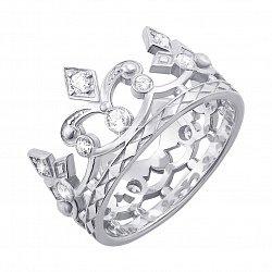 Кольцо-корона из белого золота с фианитами 000127057