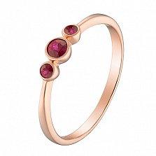 Кольцо в красном золоте Паула с рубинами