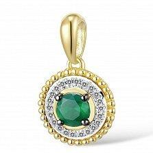 Кулон из золота с изумрудом и бриллиантами Синди