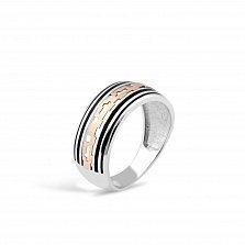 Серебряное кольцо Шарлотт с золотой накладкой и черной эмалью