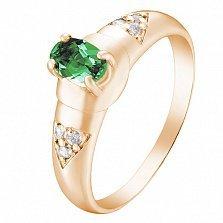 Золотое кольцо Бирма с изумрудом и бриллиантами