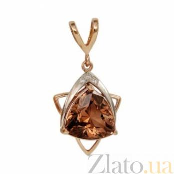 Золотой кулон с раухтопазом и бриллиантами Аксиома 000030268