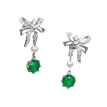 Серебряные пуссеты-подвески с зелеными агатами, жемчугом и фианитами 000105733