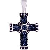 Золотой крест с белыми сапфирами Абсолют