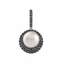Серебряный кулон Гинея с белым жемчугом и черным цирконием
