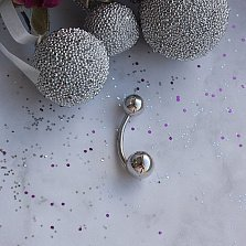 Классический золотой пирсинг Шарики в белом цвете