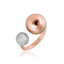 Позолоченое серебряное кольцо с фианитами Росанна