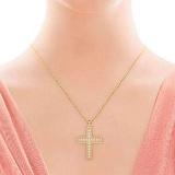 Крестик из желтого золота с бриллиантами Тайна: Бесконечность