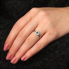 Серебряное кольцо Солнышко с лондон топазом и цирконием