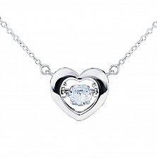 Серебряное колье Сердце большое с танцующим белым фианитом, 12x13мм