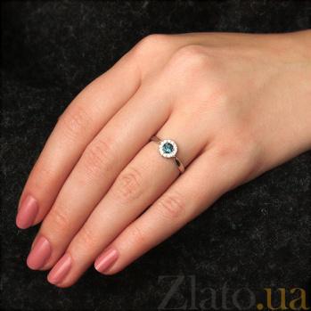 Серебряное кольцо Солнышко с лондон топазом и цирконием 000026380