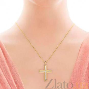 Крестик из желтого золота с бриллиантами Тайна: Бесконечность 6984