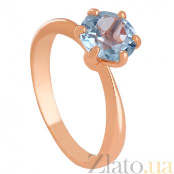 Золотое кольцо с голубым топазом Патрисия 000024460
