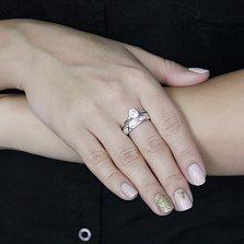 Серебряное кольцо Сабрина с двойной шинкой, узорами и белыми фианитами