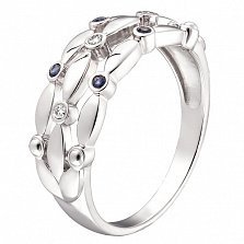 Кольцо из белого золота бриллиантами и сапфирами Стефания
