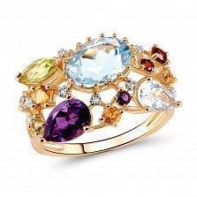 Кольцо из красного золота Беверли с голубым топазом, аместистом, цитрином, гранатом и бриллиантами