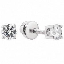 Серебряные серьги-пуссеты Атрея с белыми фианитами