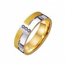 Золотое обручальное кольцо Романтическая история с фианитами