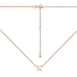 Колье из красного золота с подвеской Буква К 000137534
