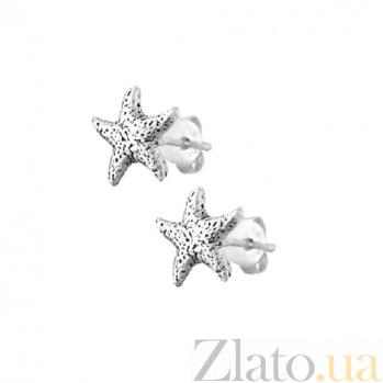 Серебряные сережки-пуссеты Морская звезда SLX--С5/010