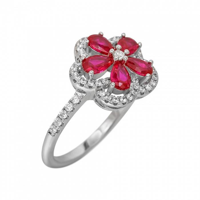 Серебряное кольцо Мариса с синтезированным рубином и фианитами 000081539