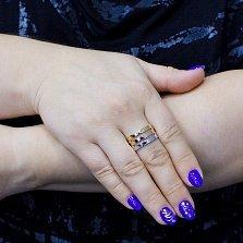 Золотое минималистичное кольцо Дастина в комбинированном цвете с тройной шинкой