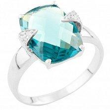 Серебряное кольцо Юлиана с топазом лондон и фианитами
