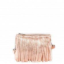 Кожаный клатч Genuine Leather 1612 нежно-розового цвета с бахромой и застежкой-молнией