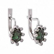 Серебряные серьги с зеленым кварцем Сорель