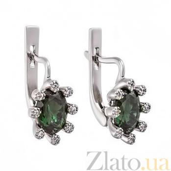 Серебряные серьги с зеленым кварцем Сорель 2231/9р зел кварц