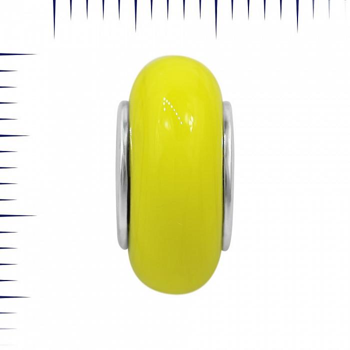 Серебряный шарм Вино из одуванчиков с желтым муранским стеклом 000081729