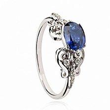 Золотое кольцо Мнемозина с сапфиром и бриллиантами
