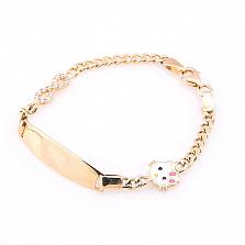 Золотой браслет Китти с эмалью и фианитами