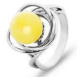 Кольцо серебряное с янтарем Альма